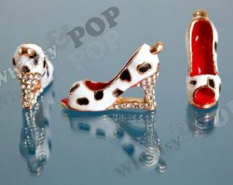 1 - Dalmatian Spotted High Heel Black Red and White Crystal Rhinestone and Glass Pearl Studded Heel Goldtone Kawaii Charm, Shoe Charm (3-5G)