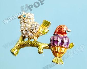 1 - Gold Tone Love Birds Kawaii Charm. Bird Charm, Bird Connector Charm, 28mm x 36mm (3-5D)
