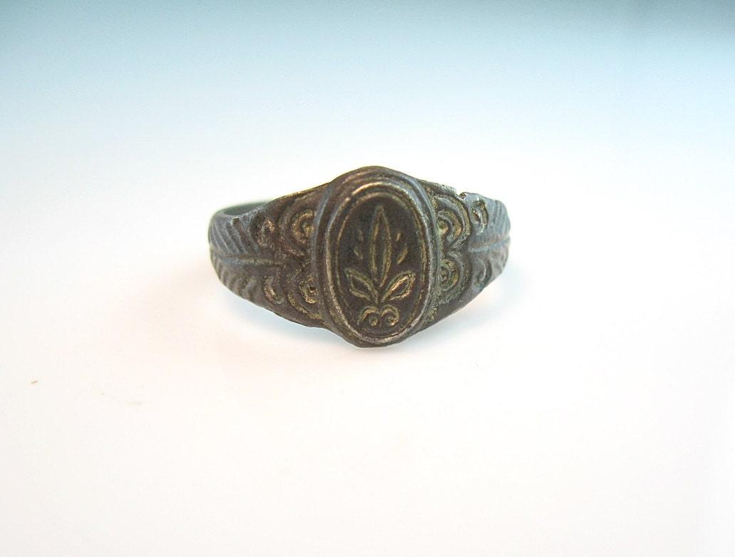 Medieval Bronze Ring French Fleur De Lis Signet By