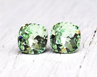 Mint Green Earrings Super Sparklers Square Swarovski Crystal Celery Green Stud Earrings Mashugana