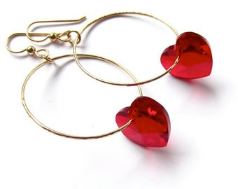 Red Heart  Earrings, Gold Hoops, Valentines Day, Swarovski Crystals, Heart Jewelry, Valentine Jewelry, Gift for Her,