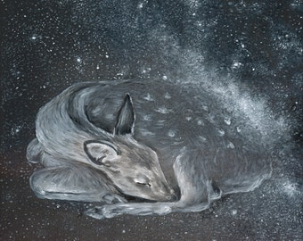 SALE 50% OFF The Deer Spirit - Constellation Print of Oil Painting