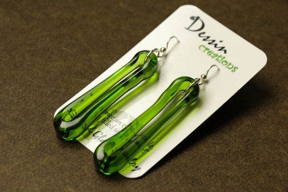 Long WINE Bottle Earrings, Fused Glass Jewelry, Barware to Wear, Unique Gift,  Dessin Creations