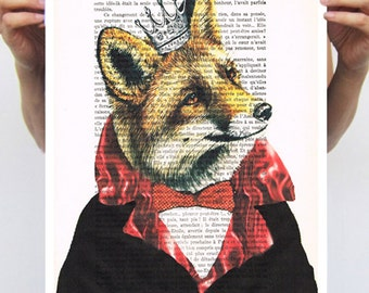 ART POSTER 11x16: Royal Fox, Animal Portrait painting illustration glicee drawing illustration painting mixed media digital print