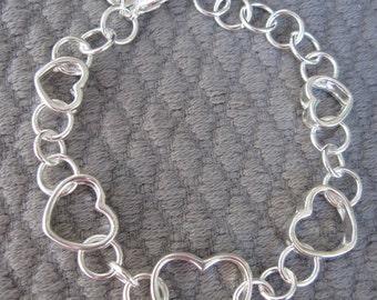 Five Open Hearts Silver Bracelet