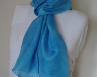 Turquoise blue silk crepe hand dye-painted scarf - Deep Sea