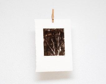 Tree silhouette no. II, etching, hand printed, original wall art, woodland print