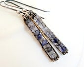 Iolite Earrings Gemstone Jewelry Violet Blue Oxidized Wire Wrapped Sterling Silver Dangle Earrings