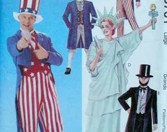 McCall's Costumes Uncut Sewing Pattern 8701 AMERICAN ICONS Adult Halloween Costume - Statue of Liberty Uncle Sam Abraham Lincoln