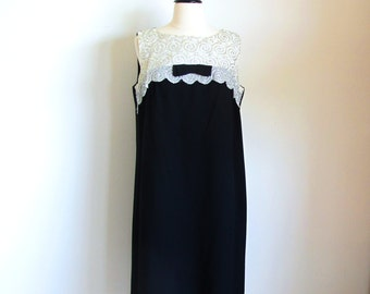 Vintage Black 60s Shift, Mod Evening Dress, Vintage Party Dress, Semi Formal Dress