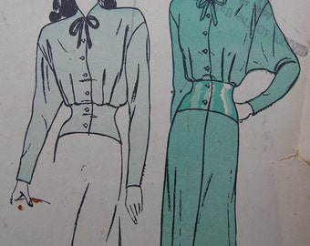 Fabulous Vintage 40's Misses' NEGLIGEE And BED JACKET Pattern