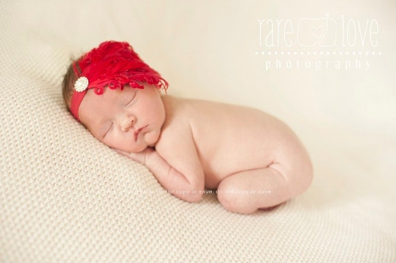 Christmas Baby Headband  Feather Pad in Red with Pearl and Rhinestone Button Photo Prop