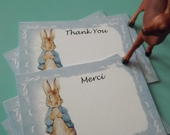 Peter rabbit Thank You cards Peter rabbit Merci Cards Peter Rabbit invitations baby shower thank you cards Peter rabbit thank you merci card