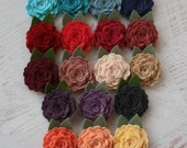 Pick ONE Heirloom Rose Headband- Choose from over 60 colors - Wool Felt Flower Headband or Hair Clip