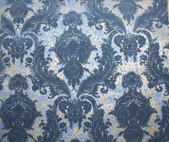 1970 39 s vintage wallpaper retro flocked wallpaper blue for Flock wallpaper