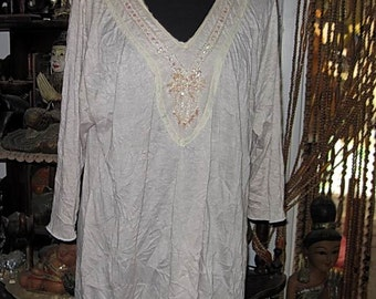 Embroidered & Sequined Originally Crinkled Sand-Tone Tunic Top, Vintage -  Large