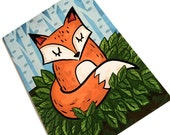 Cute Sleeping Fox All Occasion Thank You Sympathy Animal Greeting Blank Note Card Stationery