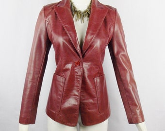 Vintage PIERRE CARDIN 1970s DISTRESSED Fitted Skinny Fit Leather Jacket Whiskey Hue Size Small