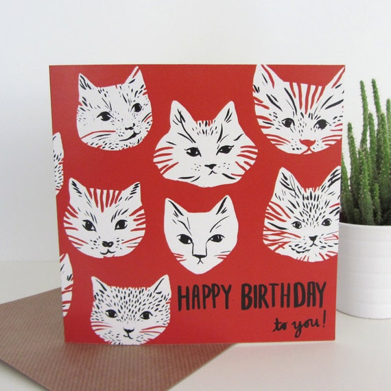 Recycled greetings card with envelope: Cat Friends Happy Birthday