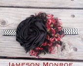 NEW - Fall 2013 XL Chiffon Flower in Black and Red Floral and Large Satin Ruffle in Black on B&W Chevron FOE elastic- Holidays, Christmas