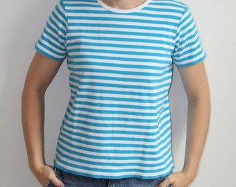 S A L E - Blue and White Stripe Tee Shirt - S
