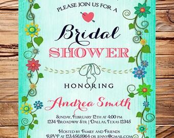 Floral Border Bridal shower Invitation,Coral, Pink, Teal, Wedding Shower Invitation,Spring Floral Invite,Flowers, digital, 5187