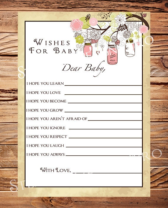well wishes card instant download mason jars baby shower advice