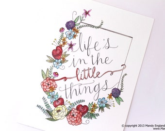 INSTANT DOWNLOAD - Life's in the Little Things - 8x10 Reproduction of Original Watercolor Art by Mandy England