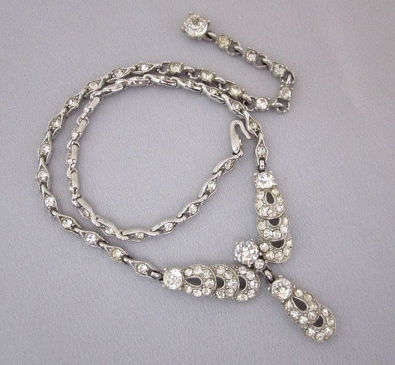 Vintage bogoff rhinestone necklace bridal necklace by for Bogoff vintage costume jewelry