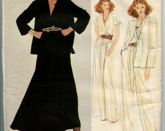 1980s Vogue 2827 American Designer John Anthony Misses' Jacket, Wrap Top, Straight Leg Pants, Flared Skirt and Sash Size 12 Bust 34 UNCUT