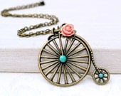 Christmas sale Bicycle Necklace Bicycle pendant Steampunk bronze flower turquoise Necklace cycling Sports pendant beadwork statement neck