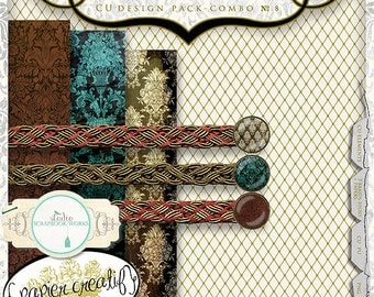 Digital Papers and Trim Collection by Papier Creatif CU OK