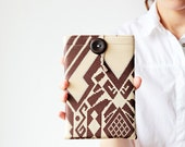 iPad mini sleeve - Tribal iPad case - Geometric - Beige and brown - OOAK
