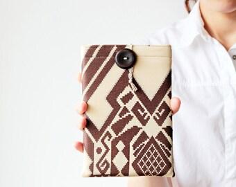 iPad mini sleeve - Tribal iPad case - Geometric - Beige and brown - OOAK