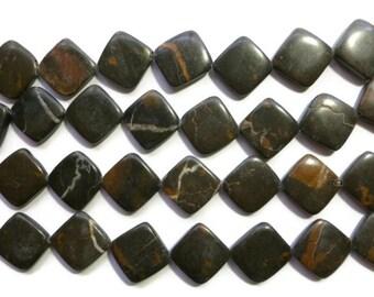 Charcoal Portoro Marble - Chunky Square  or Diamond - Full Strand - 13 beads