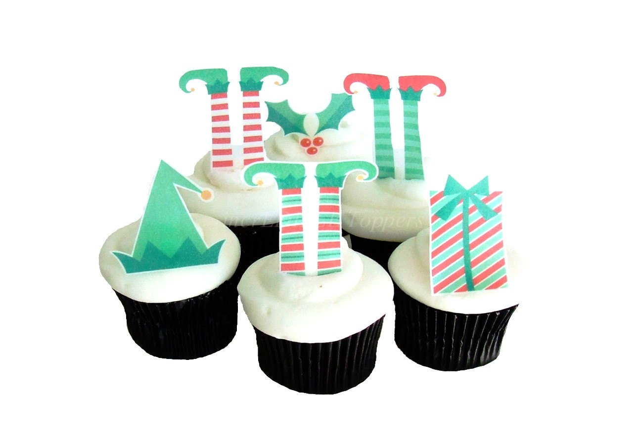 Christmas Decorations for Cakes and Cupcakes Edible Elf