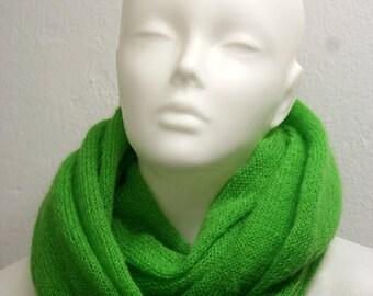 Neon Apple Green Mohair Cowl - Fluffy, Soft & Warm