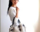 Beige Crocheted Handbag Celebrity Style,Crochet winter  bag- shoulder bag- crochet bag-Free Shipping Valentines day gift Cream /