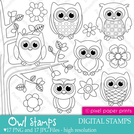 Owl stamps - Digital Stamps set by Pixel Paper Prints ...