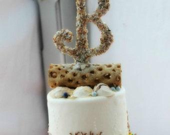 BEACH WEDDING CAKE Topper Nautical Wedding Cake Topper Seashell