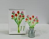 2014, Monthly Paper Flower Calendar (paper art Flower Arrangement Calendar)