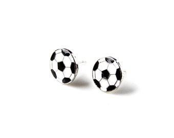 Soccer Stud Earrings - Accessories - Women's Jewelry - Gift Idea - Handmade - Gift Box Included