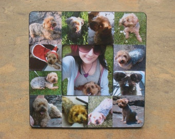 "Pet Memorial Frame, Personalized Pet Memorial Picture Frame, Custom Dog Frame, Cat Frame, Pet Collage Picture Frame 8"" x 8"", Unique Gift"