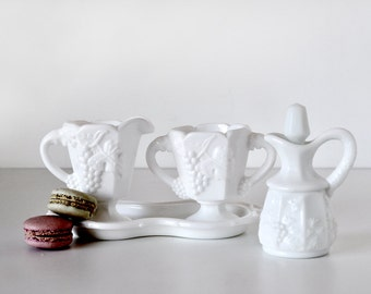 Milk Glass Sugar & Creamer Set with Cruet