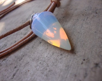 Hypnotic OPALITE pendulum necklace on adjustable salvaged leather cord,can also be used for divination