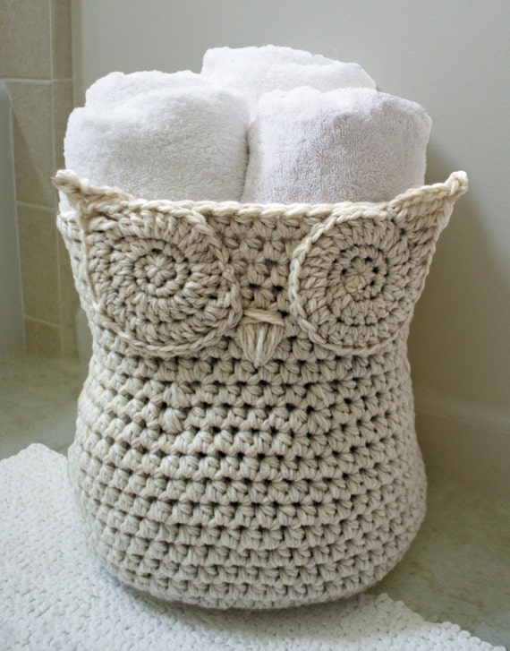 Crochet Pattern-- Owl Basket --Crochet Pattern