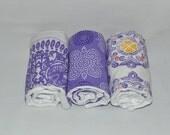Girl Burp Cloth Set - Baby Girl Burp Cloths - Purple Burp Cloths Sweet Impression