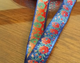 """3/4"""" Vintage Jacquard embroidered woven ribbon trim with ombre embroidered florals and leaves #972-01"""