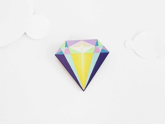 Geometric Brooch Neon 'Diamond'