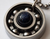 Blue Goldstone Roller Derby Skate Bearing Pendant Necklace